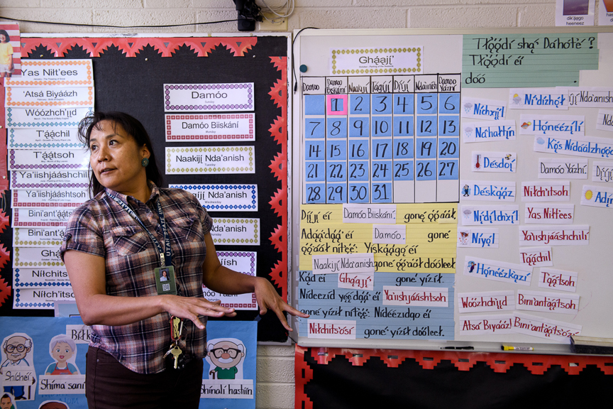Mable Martin, a teacher at Blanding Elementary School, teaches Navajo to students on October 1, 2018 in Blanding, Utah.