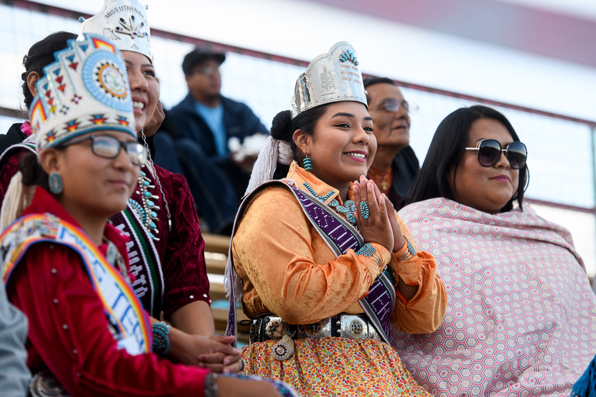 People watch the Miss Northern Navajo coronation at the Shiprock Northern Navajo Nation Fair on October 5, 2018 in Shiprock, New Mexico.