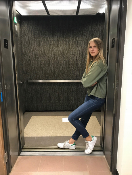 Author Jayna Bosse supervises the Tower elevator    Photo by: Emilia Angotti