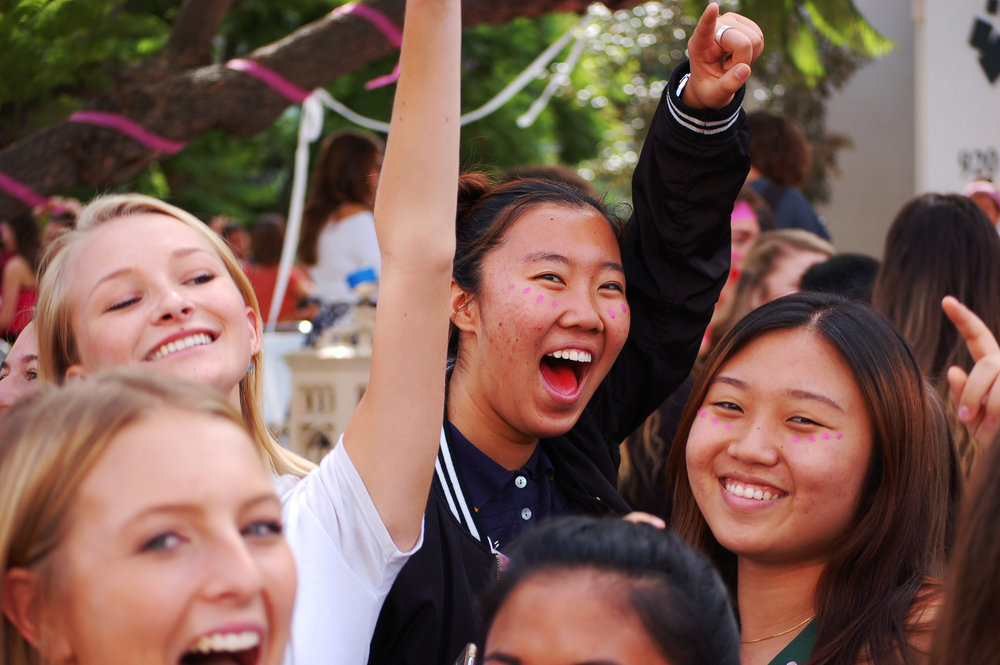 Seniors Katelyn Mckinley, Jackie Porter, Mady Park, and Sue Lee pictured left to right dancing and enjoying music provided by one of our weekly Friday DJs (photo taken by Claire Choi)   Photo by: Claire Choi
