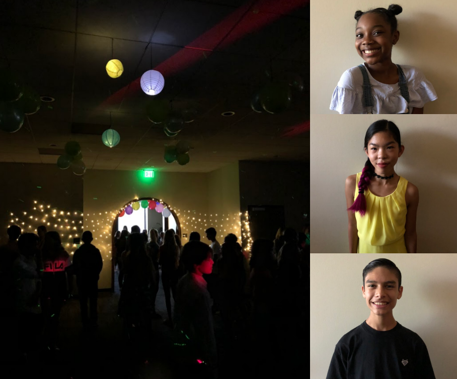 Left: Interior of the Middle School Dance  Pictured Students - Top to Bottom:    Photos Courtesy of Erin Kim