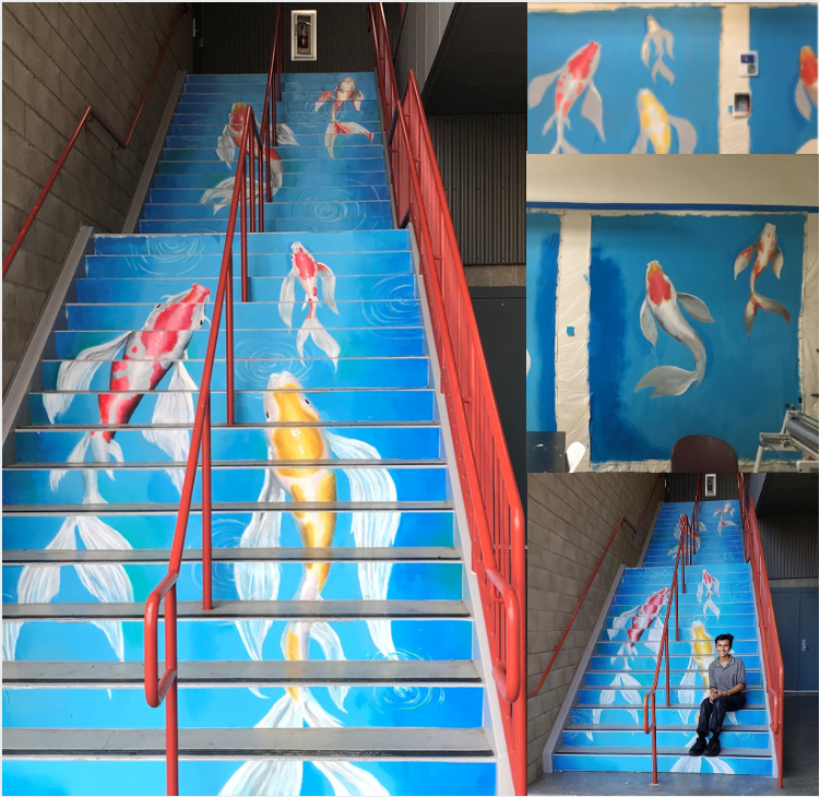 A look at OCSA's newest mural, found in the DMS courtyard and some photos when it was still a work in progress.   Photo by: Brianna Roesler    Process Photos Courtesy of: Miran Whassan