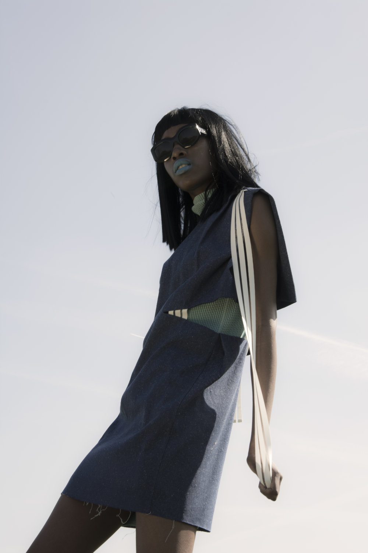 Denim dress: Min Wu Blue dress: Kitty Joseph Sunglasses : Celine