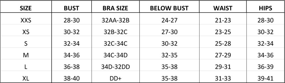 BUST                     The bust is the largest part of the top also known as your cup size.                      BRA SIZE                     This is to help you determine your size in regards to a non padded bra cup.                     BELOW BUST                     This is your rib cage. If you have a large bust but a small rib cage, We recommend fitting as close to the ribcage as possible. As a warning, less coverage around the bust will give a more revealing look.                     Please note that the model in the sizing photo is a size 32D cup but is wearing a size small.                      WAIST                     The waist measurement is the natural bend in your torso. Also known as the smallest part of the stomach.                       HIPS                     The hip measurement is right above your butt and 6'' down from your belly bottom.                       ONE PIECE                    OLIVA Swimwear has designed a one-piece REGULAR and a one piece LONG.                     The long is designed and fitted for women that have trouble with one piece suits being too tight around the shoulders and bikini area.                     Expect an additional two inches of length.                     This additional two inches is for women with long torsos not necessarily taller women.                                          **ALSO NOTE THAT ALL MODELS FEATURED ON THIS SITE ARE ALL WEARING A SIZE SMALL WITH DIFFERENT BODY TYPES.                     PLEASE SEE SHOP STYLE FOR MODEL MEASUREMENTS