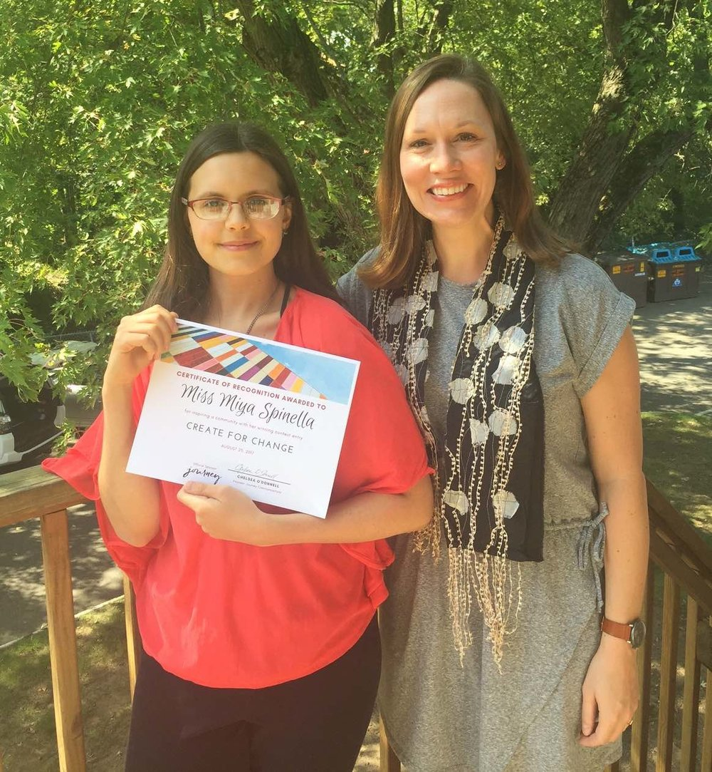 LR Create for Change Winner Miya Spinella with Contest Sponsor Chelsea O'Donnell of Journey Communications.jpg