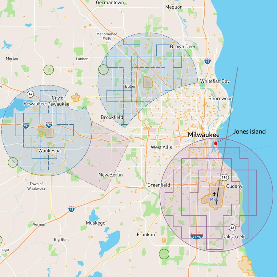 Restricted flight map of Milwaukee