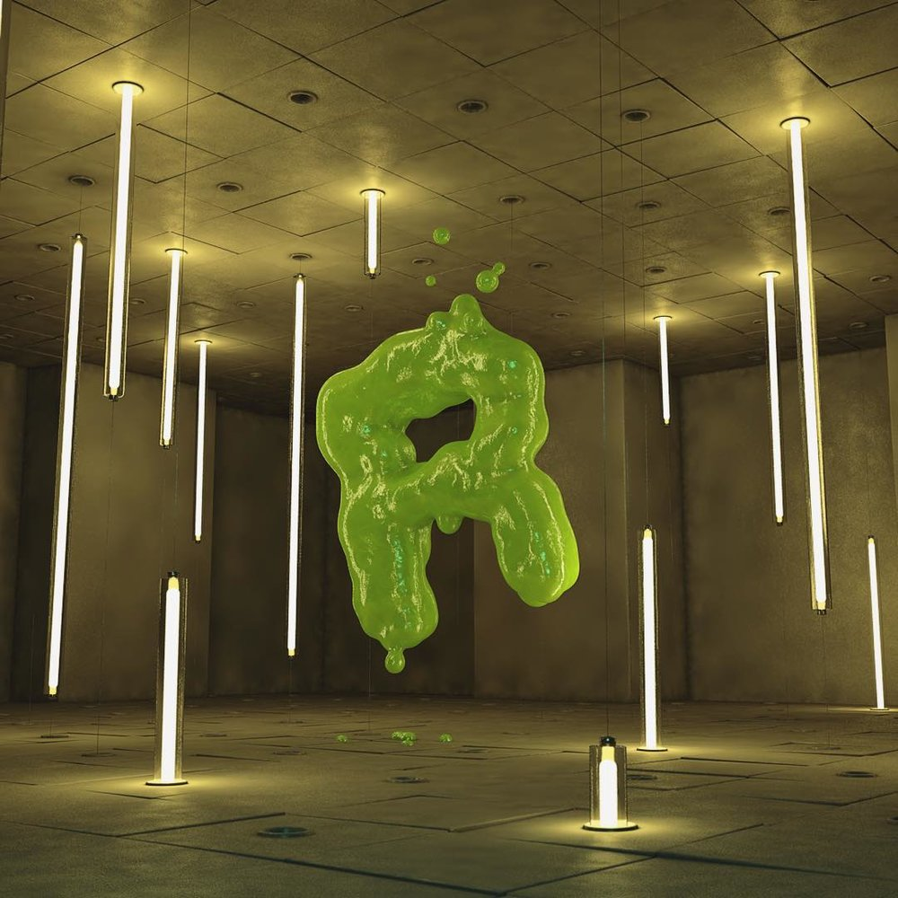 This render is an experiment into some indoor neon lighting and creating a gooey slime texture