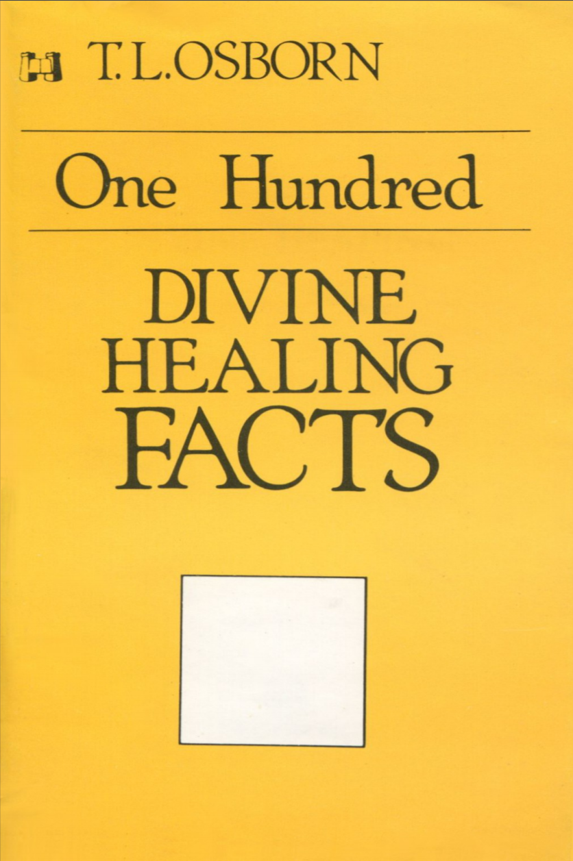 "T. L. Osborn, in his pocket-size book ""One Hundred Divine Healing Facts"" provides 100 Bible-based reasons for you never to be sick again. You will be given a list of Bible references to study concerning your health. Knowing the truth as contained in God's Word will set you free to live in perfect health."