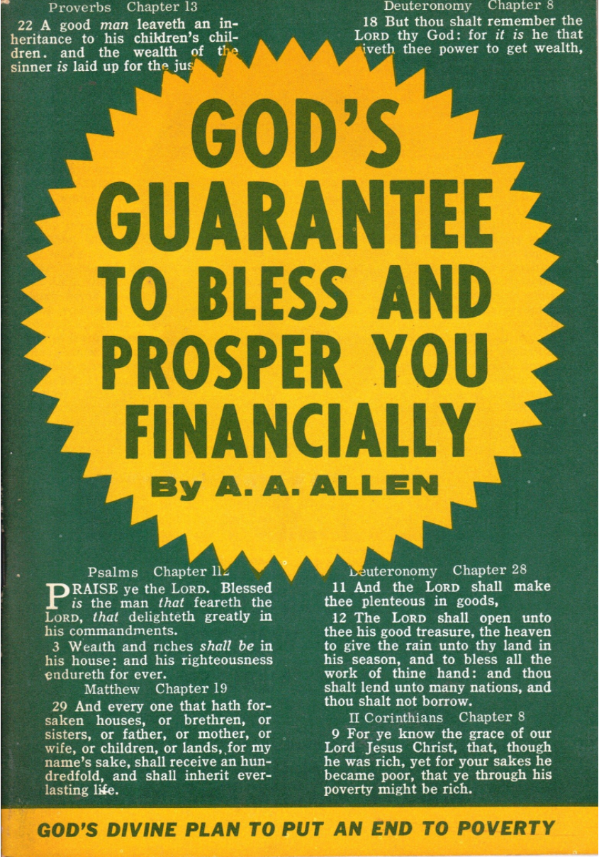 Evangelist A. A. Allen shows that God is a great provider, and that his children need never be in poverty.