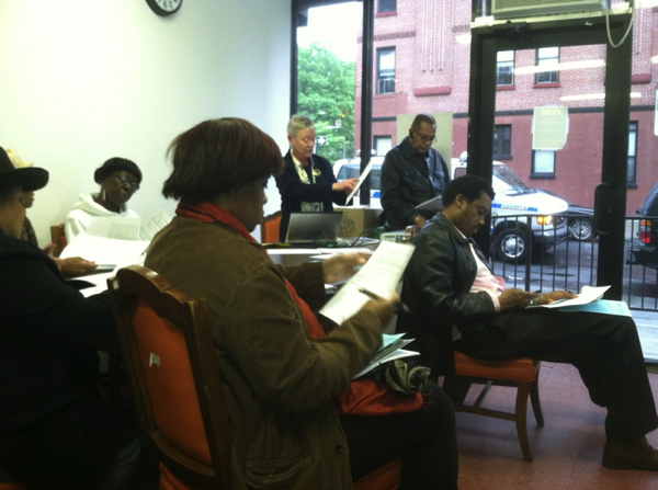 Professor Mary Lutz presents the results of the West Harlem community needs assessment project.