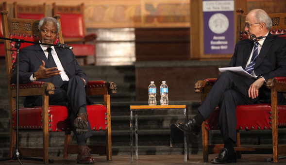 Kofi Annan and John H. Ruggie in conversation at City College.