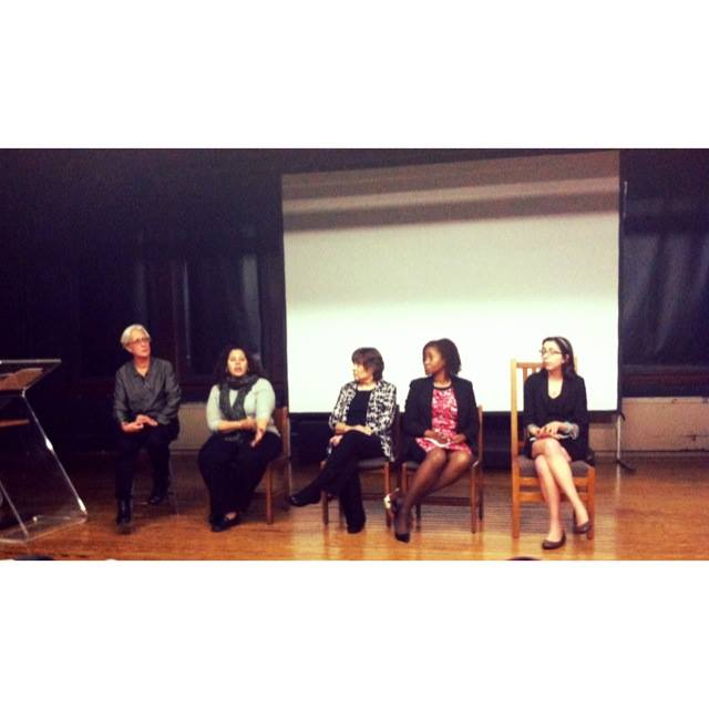 Post-screening panel. From left: Professor Ackerman; Romy Fabal, Student Health Services Staff Nurse; Teresa Walker, Executive Director of Student Health Services; Michelle Baptiste, CCNY Title IX Coordinator; and Julia Suklevski.