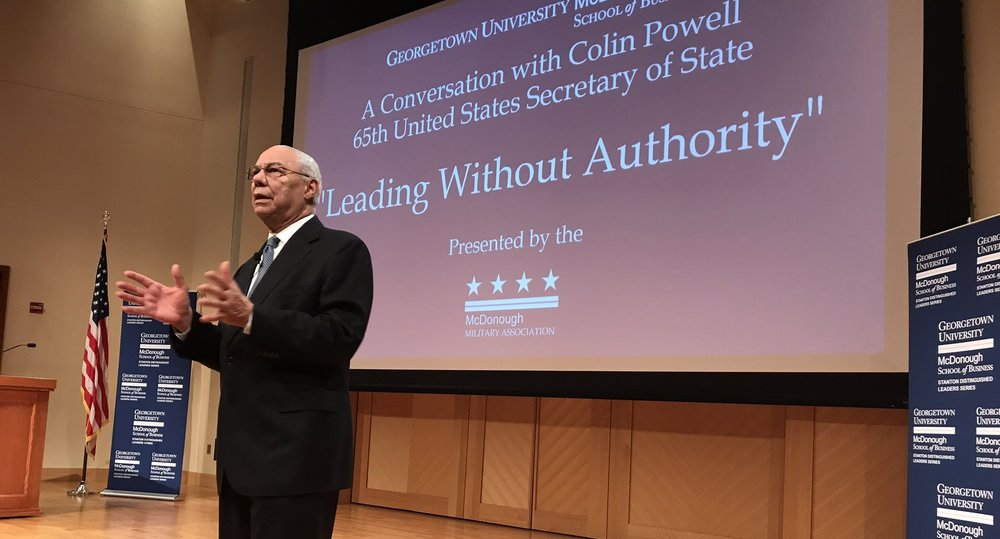 "Colin Powell, former secretary of state under President George W. Bush, said the United States will ""come through"" its struggle to fully accept immigrants in a speech Wednesday. Repost from http://www.thehoya.com/colin-powell-nation-will-overcome-hostility-toward-immigrants/"