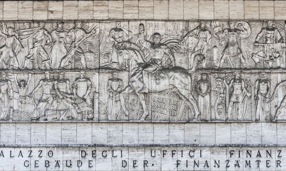 An image of the monumental frieze before it was transformed shows Mussolini as a Roman emperor on horseback. Photograph: imagebroker/Rex/Shutterstock
