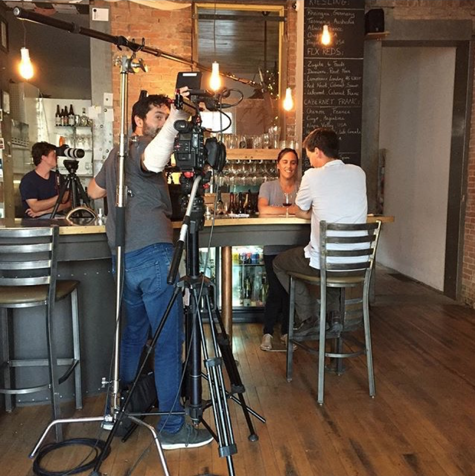 Shooting a scene about unique red wines in Microclimate Wine Bar.