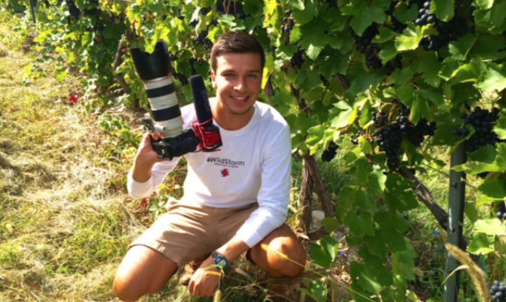 Jack filmmaking in a vineyard on the southeastern shore of Seneca Lake in the Finger lakes region of upstate New York.