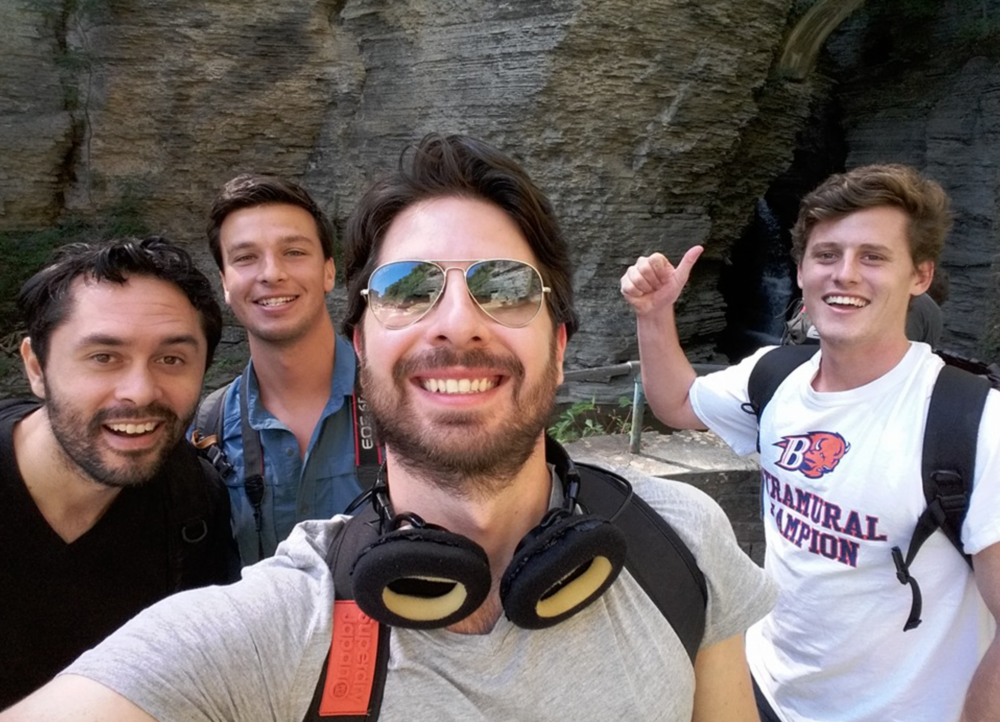 The core crew on location in Watkins Glen Gorge.