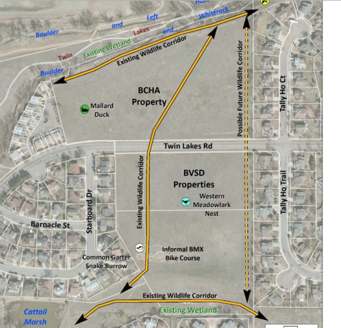 Graphic from the County's wildlife study illustrating location of critical wildlife corridors that would be destroyed by the massive apartment project being championed by the County Commission and Boulder Valley Housing Authority.