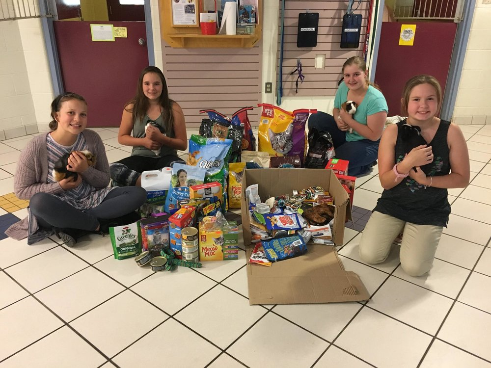 7th graders Ella Weinmann, Darien Murphy, Kelly Williams and Raven Groblewski delivered donations from JRMS Week of Giving! The four students toured the Monadnock Humane Society and made a few furry friends along the way.