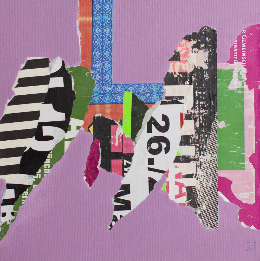 In Kreuzberg gerissen und geklebt 17 , 2010,Collage auf Leinwand mit Acryl, 40x40 cm