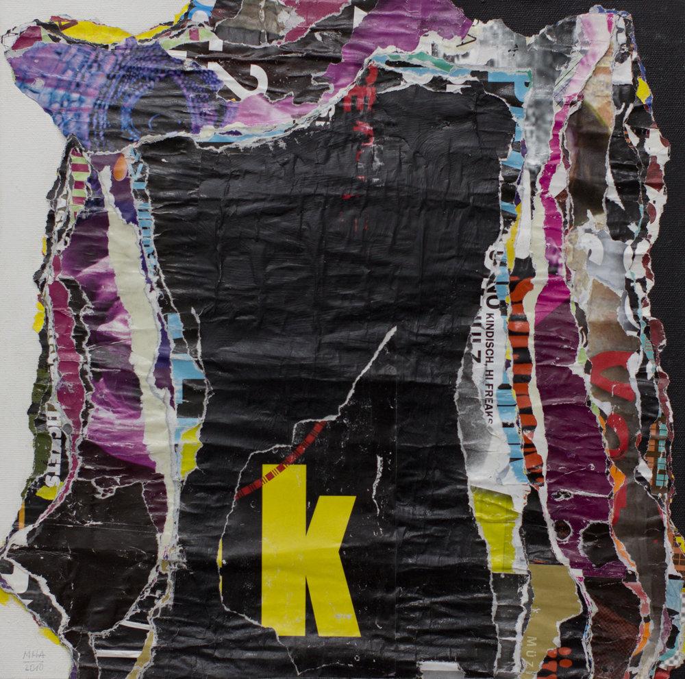 In Kreuzberg gerissen und geklebt 6 , 2010,Collage auf Leinwand mit Acryl, 40x40 cm