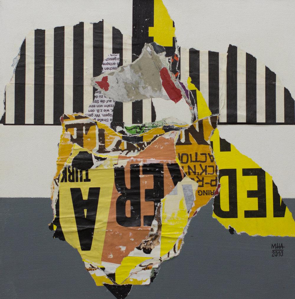 In Kreuzberg gerissen und geklebt 9 , 2010,Collage auf Leinwand mit Acryl, 40x40 cm