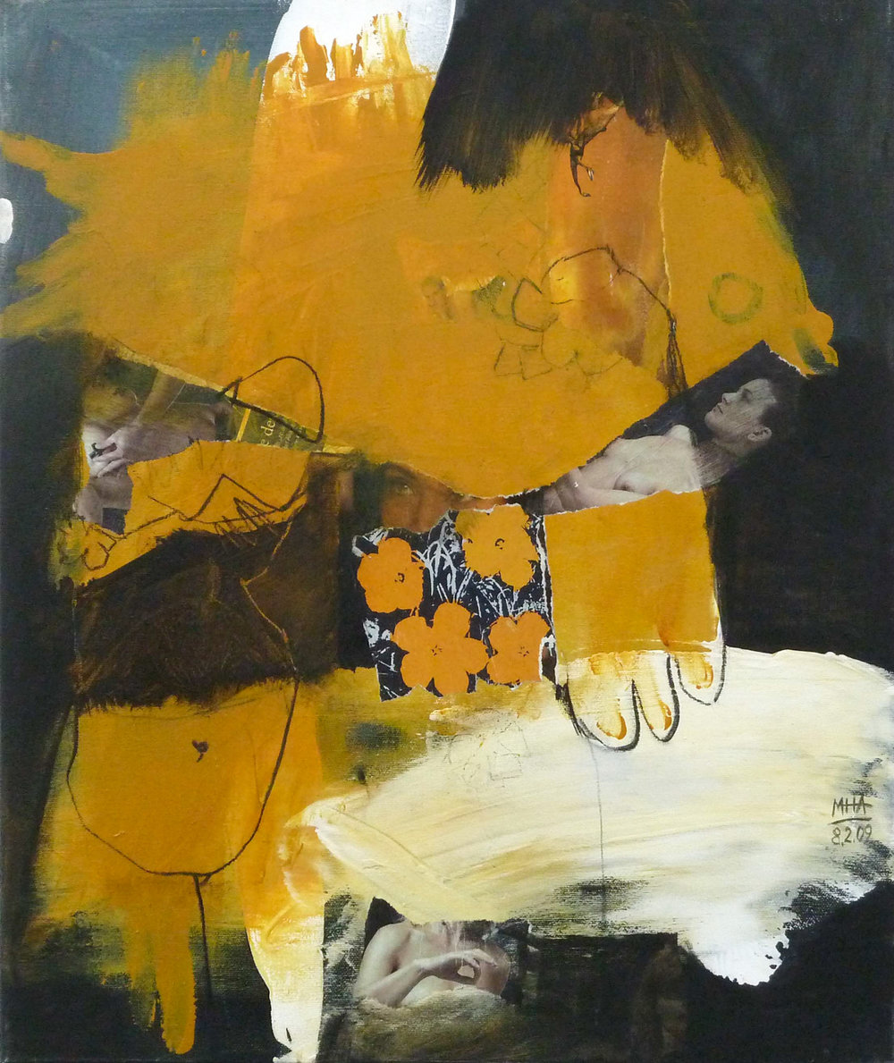 DREI , 2009, Collage mit Acryl auf Leinwand, 50x60 cm