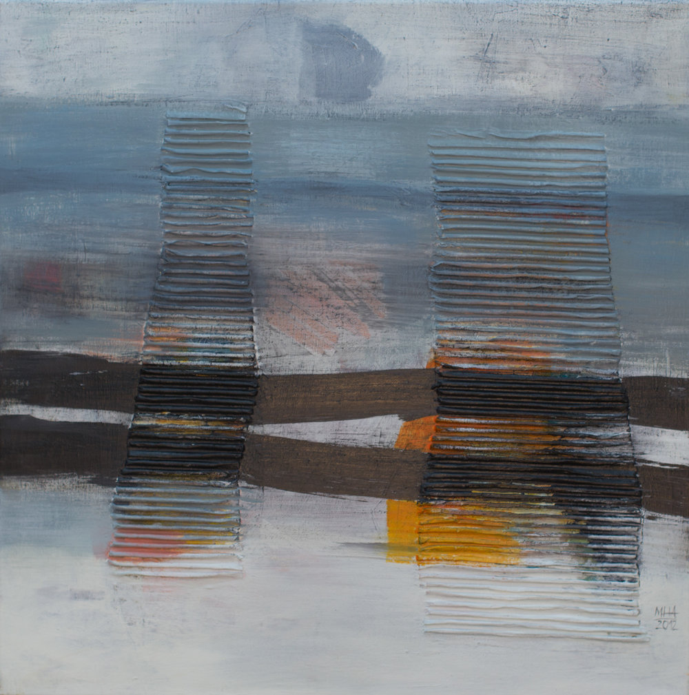 Ferne , 2012,Collage mit Acryl auf Leinwand, 60x60 cm