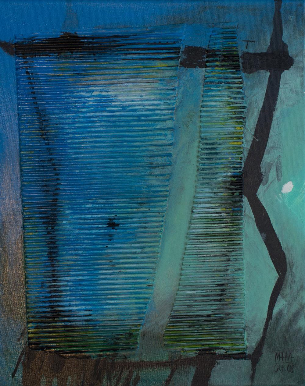 Theos 1 , 2008,Collage mit Acryl auf Leinwand, 40x50 cm