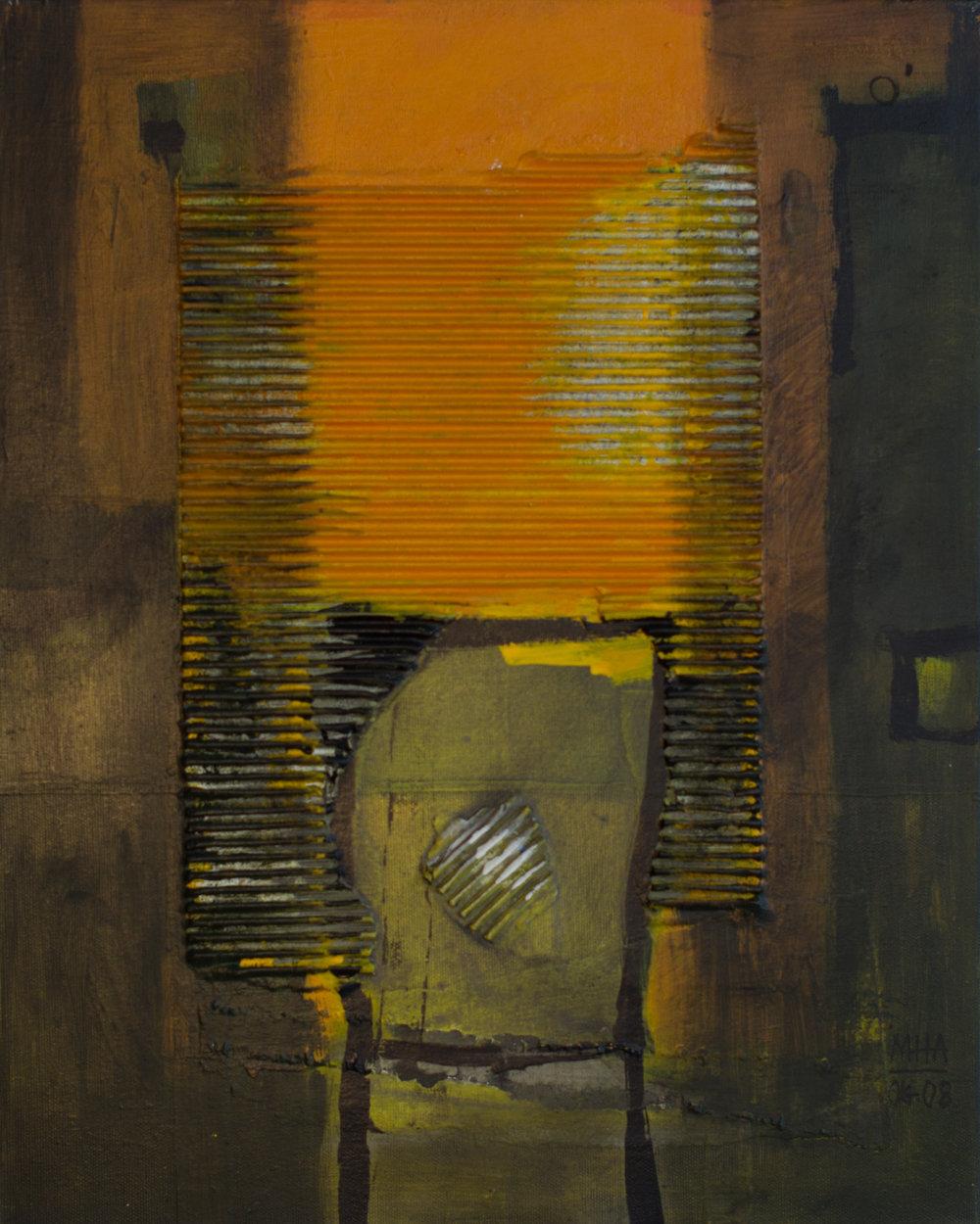 Theos 4 , 2008,Collage mit Acryl auf Leinwand, 40x52 cm