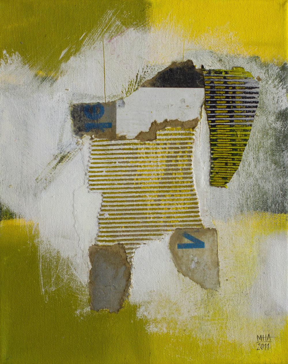 gelbes Bild D , 2011,Collage mit Acryl auf Leinwand, 24x30 cm