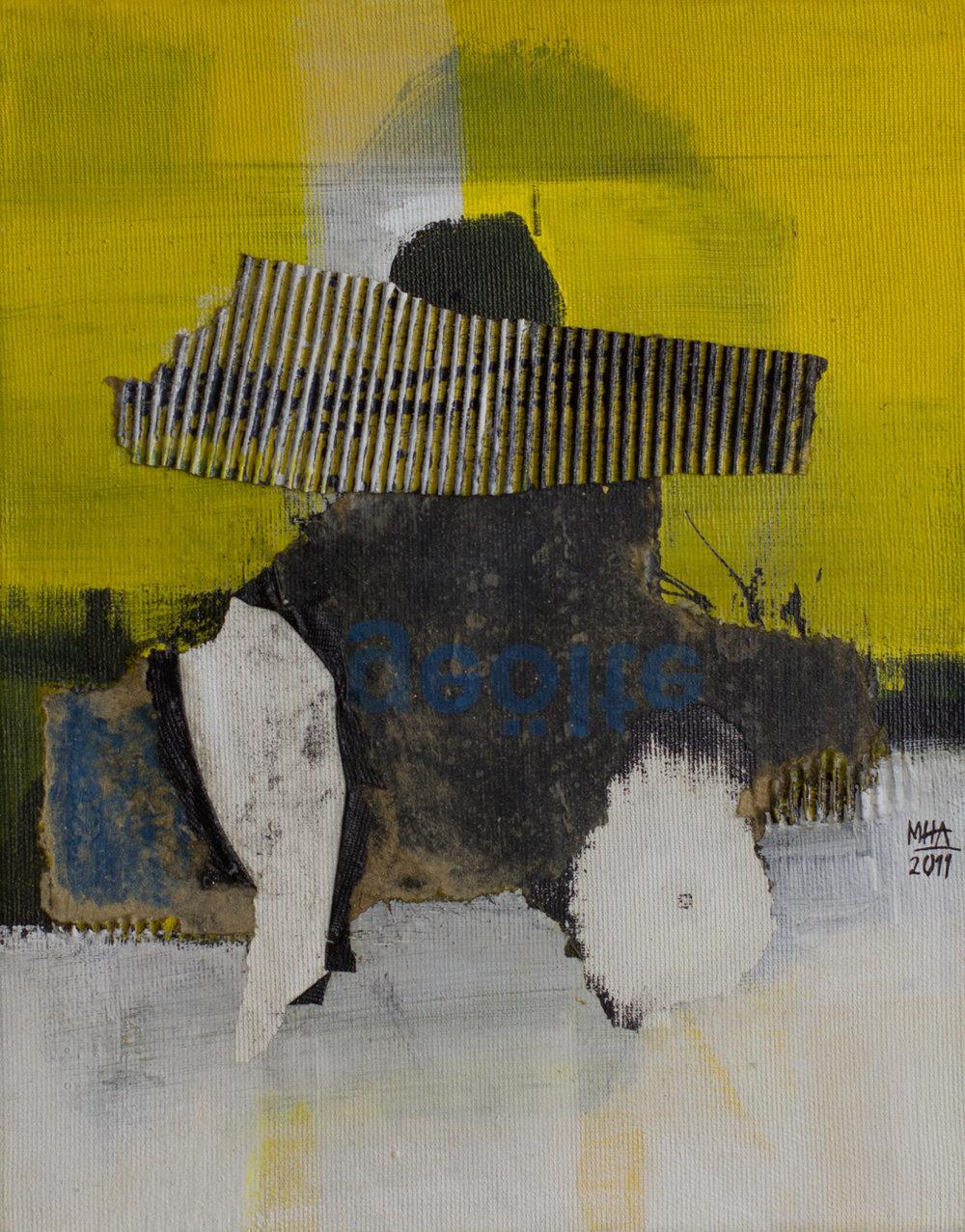gelbes Bild A , 2011,Collage mit Acryl auf Leinwand, 24x30 cm