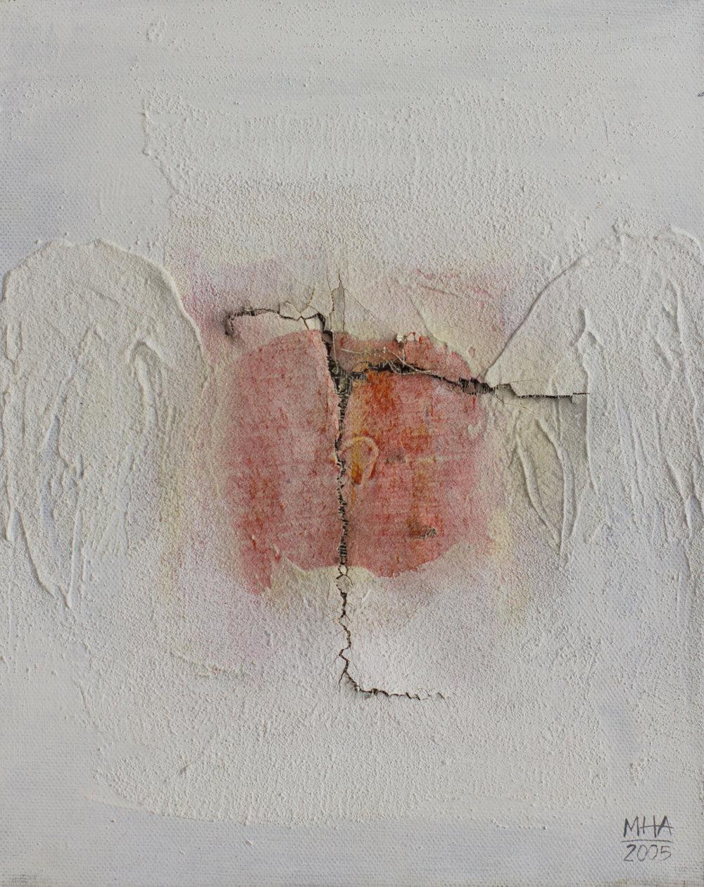 zerstört , 2005,Collage mit Acryl auf Leinwand, 24x30 cm