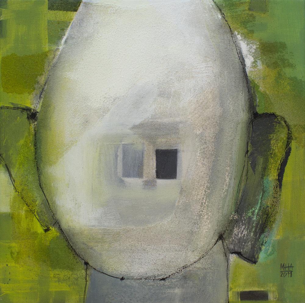 Kopf Nr. 7  ,  2011, Acryl auf Leinwand – Mischtechnik , 40x40 cm
