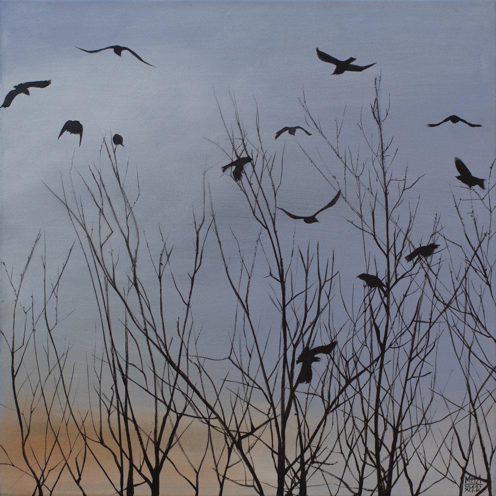 Krähe 4 , 2012,Acryl auf Leinwand, 40x40 cm