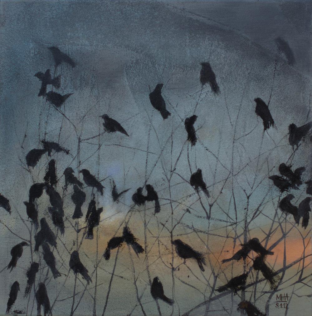 Krähe 9 , 2012,Acryl auf Leinwand, 40x40 cm