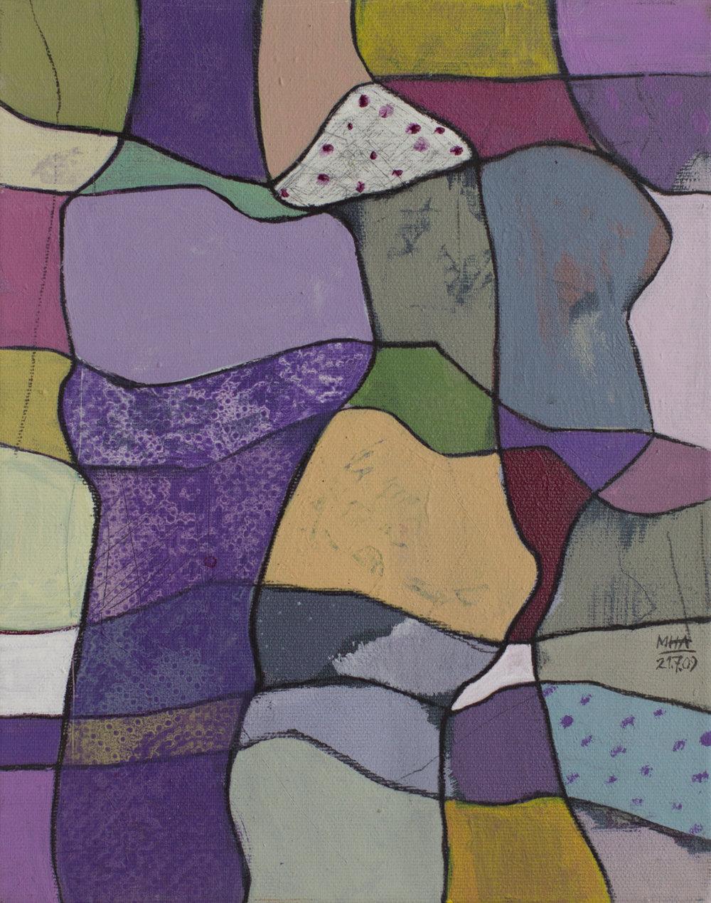 Fantasie in Linien 7 , 2009,Acryl auf Leinwand, 24x30 cm