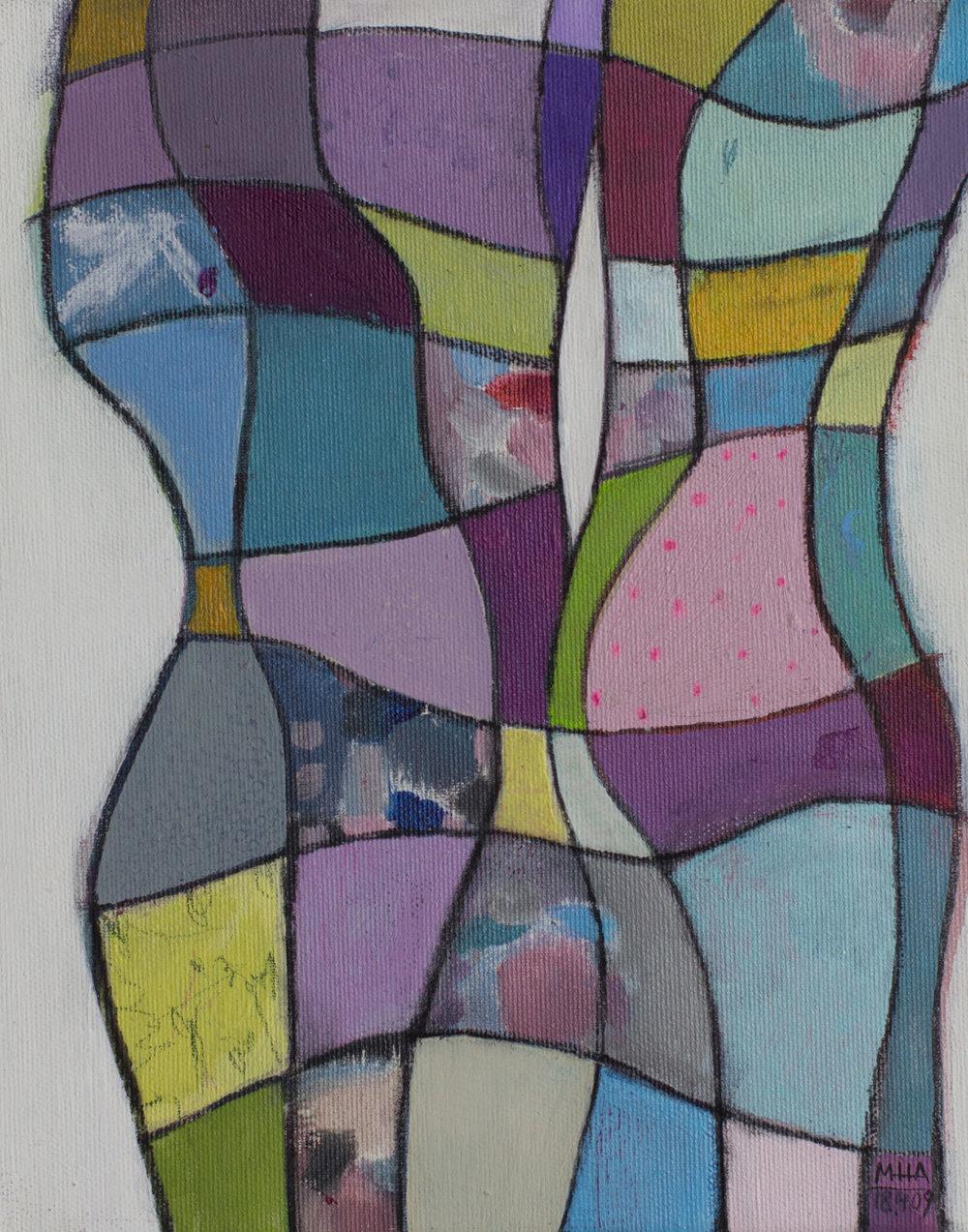 Fantasie in Linien 10 , 2009,Acryl auf Leinwand, 24x30 cm