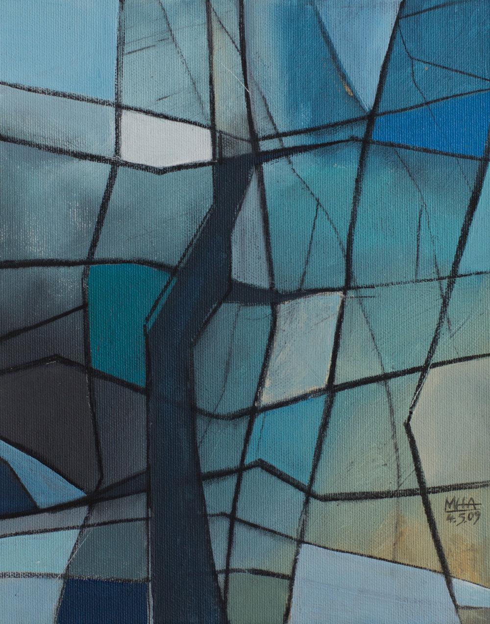 Fantasie in Linien 14 , 2009,Acryl auf Leinwand, 24x30 cm