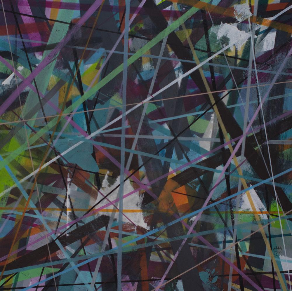 Neue Linien 24 , 2016,Acryl auf Leinwand, 100x100 cm