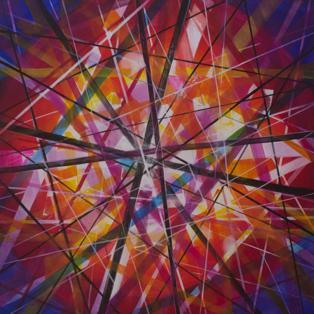 Neue Linien 26 , 2016,Acryl auf Leinwand, 100x100 cm