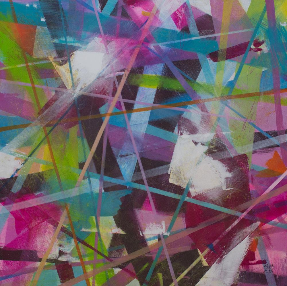Neue Linien 21 , 2016,Acryl auf Leinwand, 80x80 cm