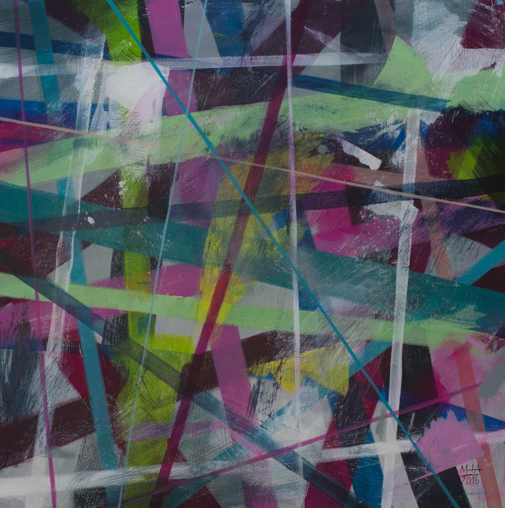 Neue Linien 22 , 2016,Acryl auf Leinwand, 80x80 cm