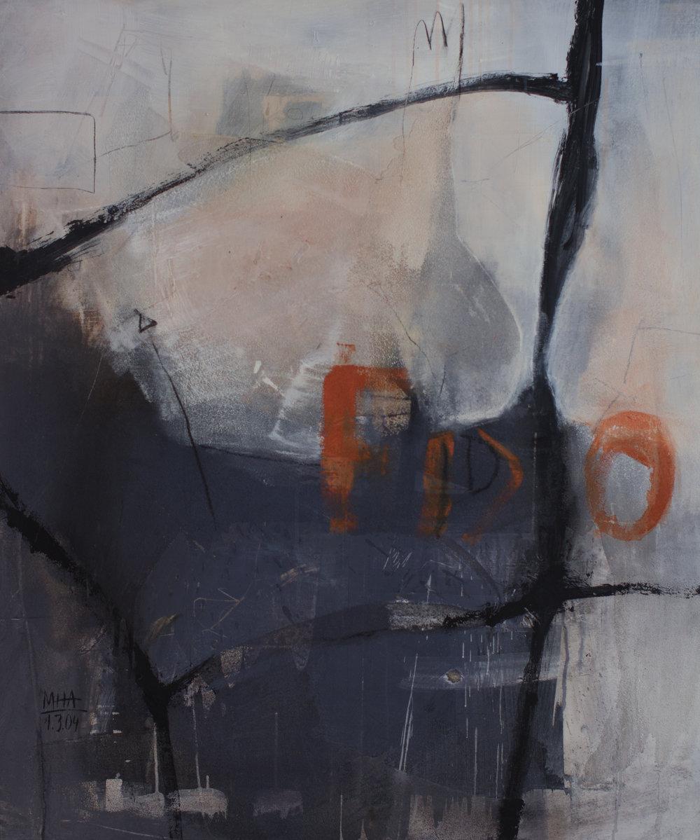 Fliegender Fisch ,2004,Acryl auf Leinwand - Mischtechnik, 100x120 cm