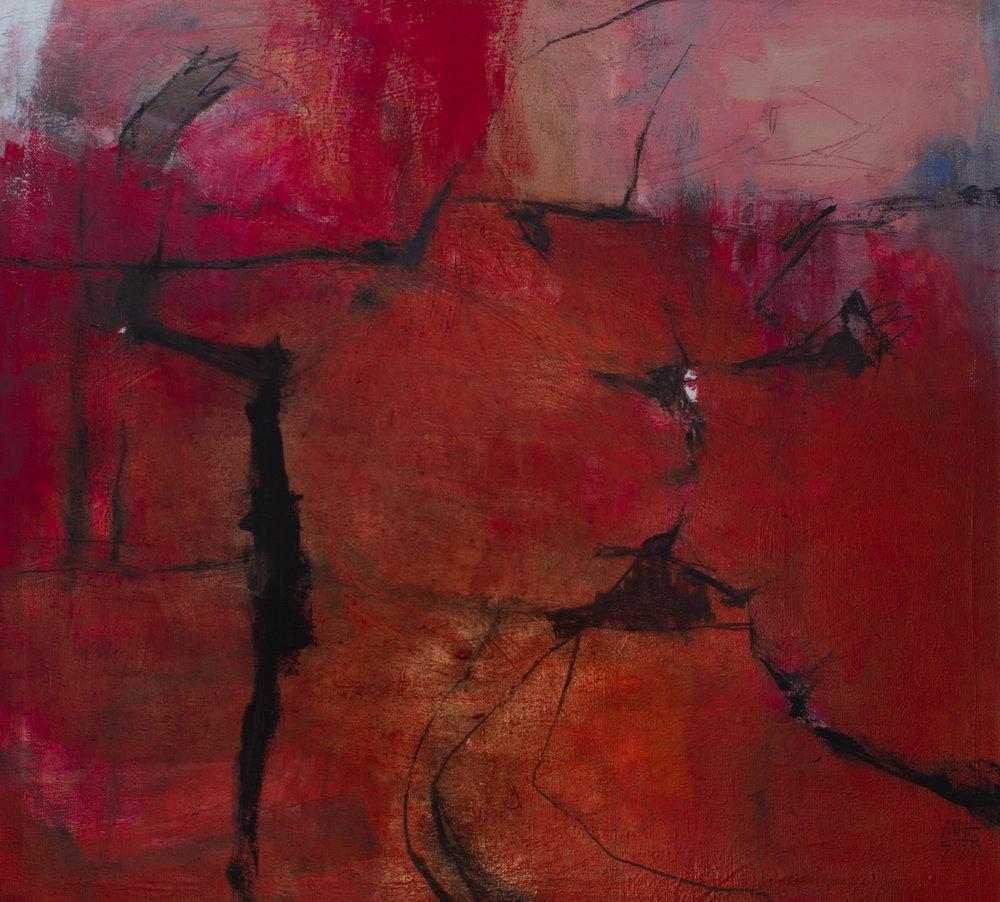 Spuren im Rot , 2002,Acryl auf Leinwand, 100x110 cm