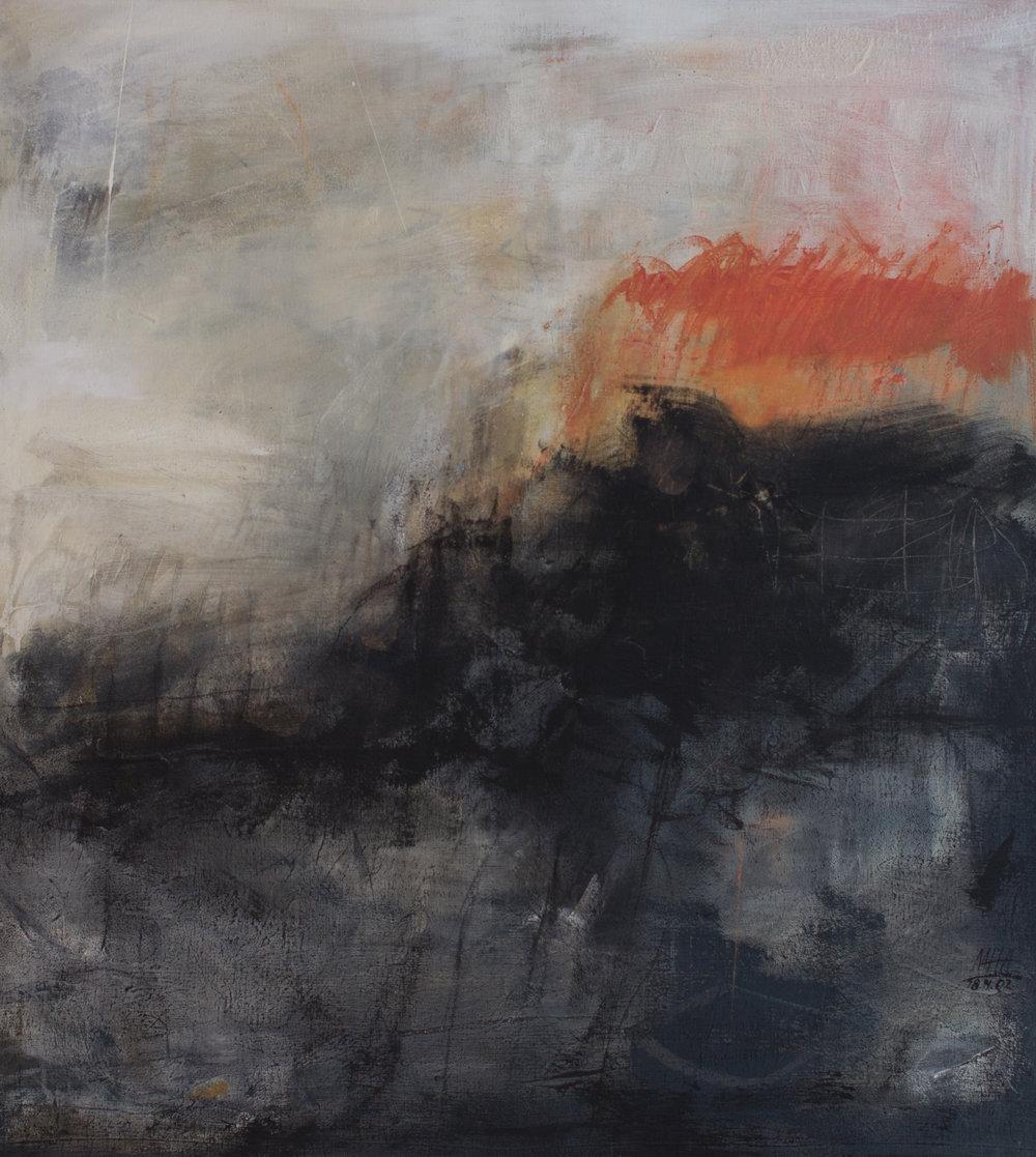 Gewitter ,2002,Acryl auf Leinwand - Mischtechnik, 100x110 cm