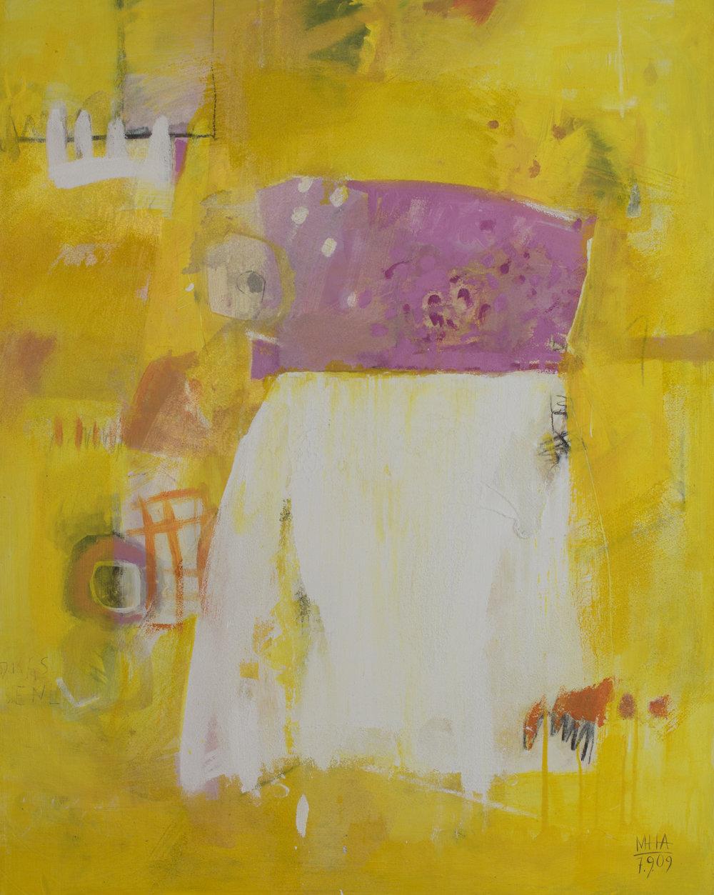 Kleid auf gelben Grund , 2009,Acryl auf Leinwand - Mischtechnik, 80x100 cm