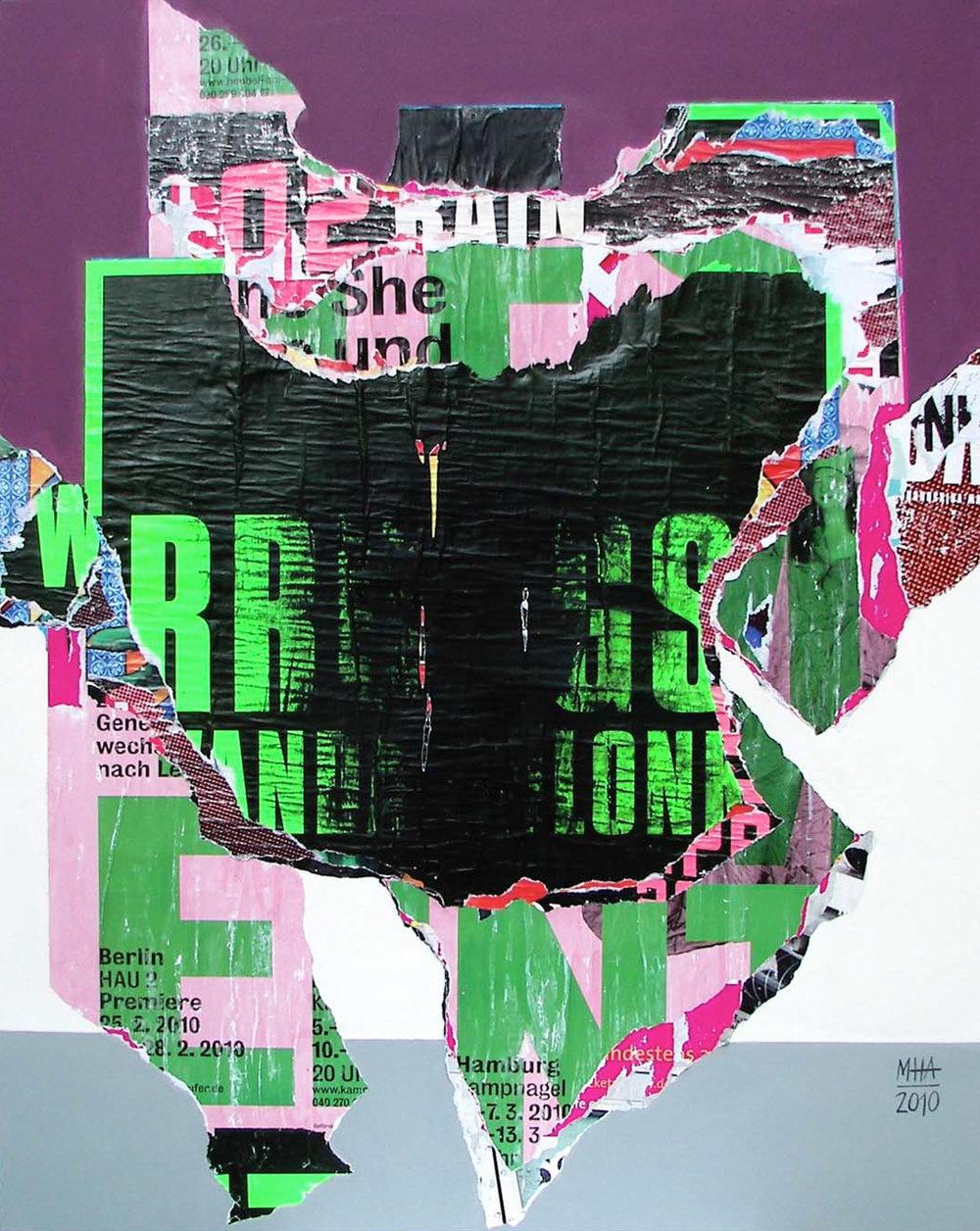 In Kreuzberg gerissen und geklebt 25 , 2010,Collage auf Leinwand mit Acryl, 80x100 cm