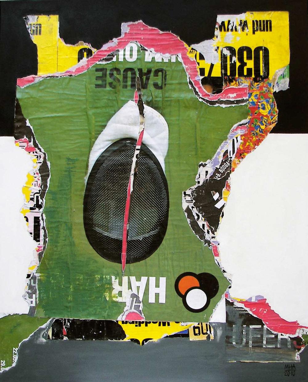 In Kreuzberg gerissen und geklebt 21 , 2010,Collage auf Leinwand mit Acryl, 80x100 cm