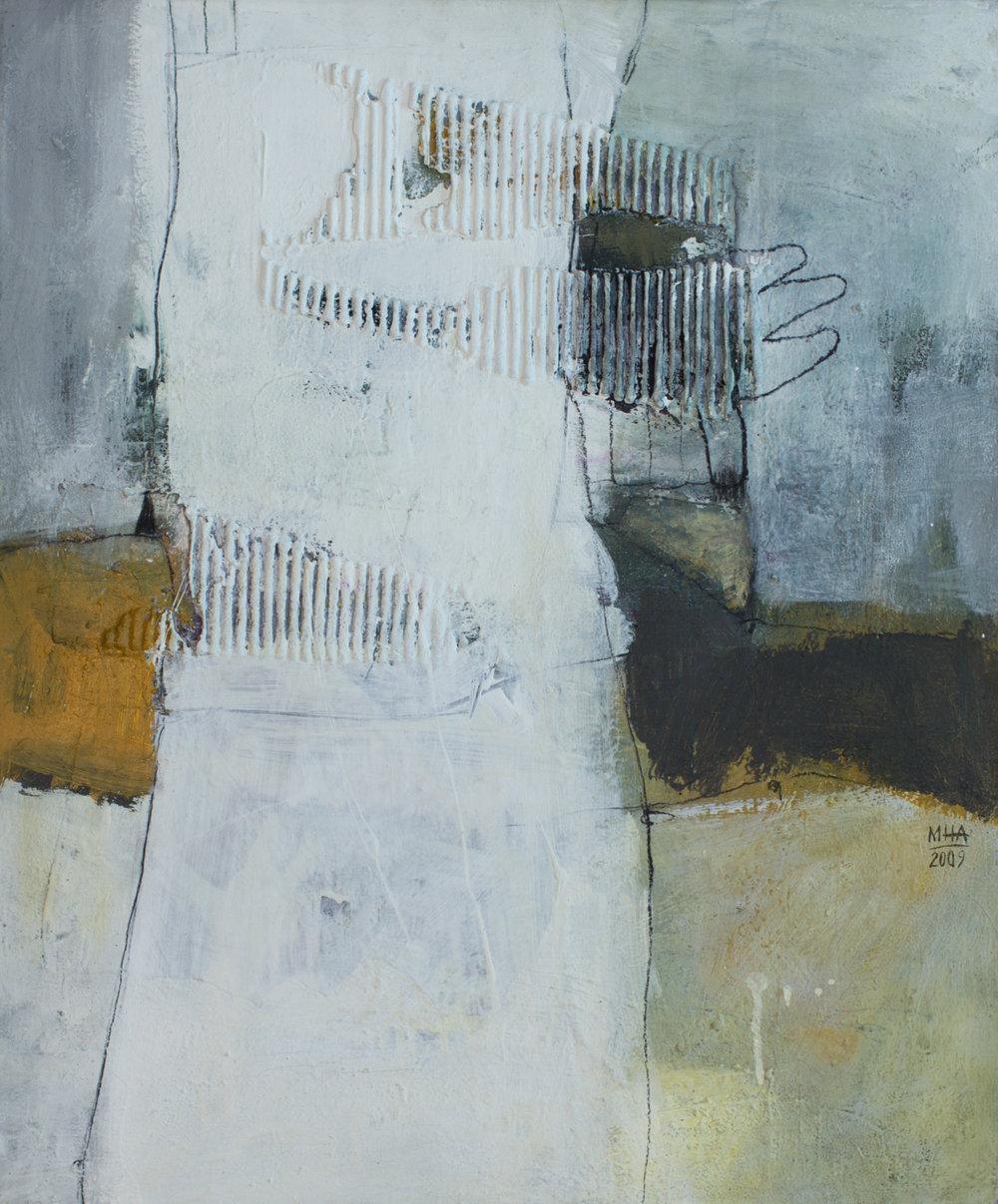 Aufrecht , 2009,Collage mit Acryl auf Leinwand, 50x60 cm